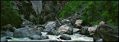 Gunnisson River and boulders in gorge. Black Canyon of the Gunnison National Park (Panoramic color)