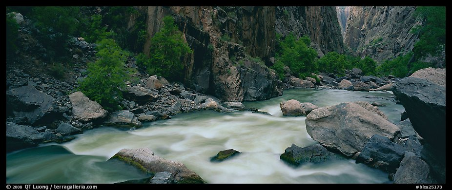 River flowing at bottom of narrows. Black Canyon of the Gunnison National Park (color)
