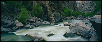 River flowing at bottom of narrows. Black Canyon of the Gunnison National Park (Panoramic color)