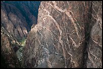 Wall with swirling veins of igneous pegmatite. Black Canyon of the Gunnison National Park, Colorado, USA. (color)