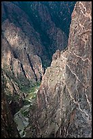 Hard gneiss and schist walls. Black Canyon of the Gunnison National Park, Colorado, USA. (color)