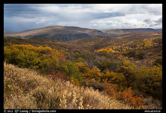 Rolling hills and storm in autumn. Black Canyon of the Gunnison National Park (color)