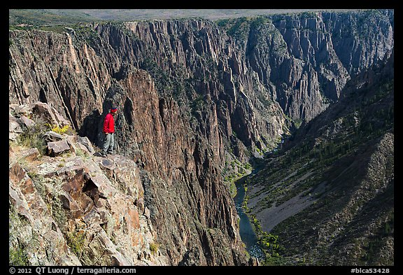 Park visitor looking, Pulpit rock overlook. Black Canyon of the Gunnison National Park (color)