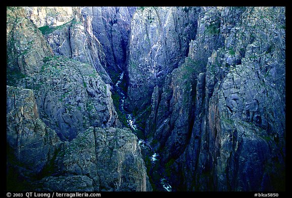 Deep and narrow gorge seen from Chasm view. Black Canyon of the Gunnison National Park (color)