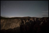 Chasm view at night. Black Canyon of the Gunnison National Park, Colorado, USA.
