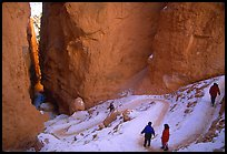 Hikers descending trail in Wall Street Gorge. Bryce Canyon National Park, Utah, USA. (color)