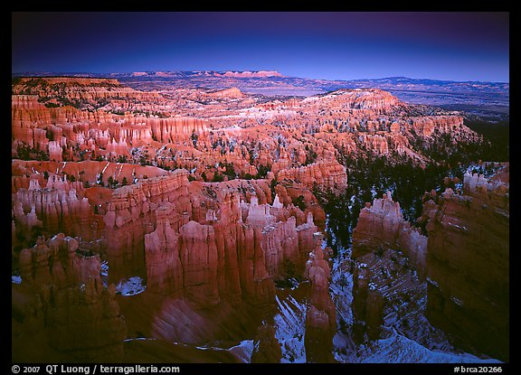 View of Bryce Amphitheater hoodoos from Sunset Point at dusk. Bryce Canyon National Park (color)