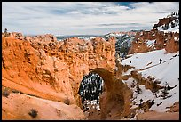 Natural arch in winter. Bryce Canyon National Park, Utah, USA. (color)