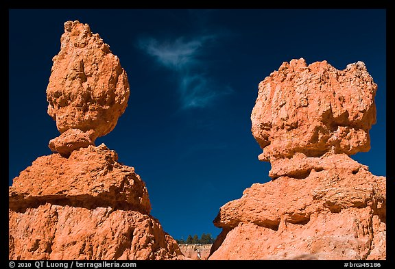 Lumpy and bulging profiles of hooodos. Bryce Canyon National Park (color)