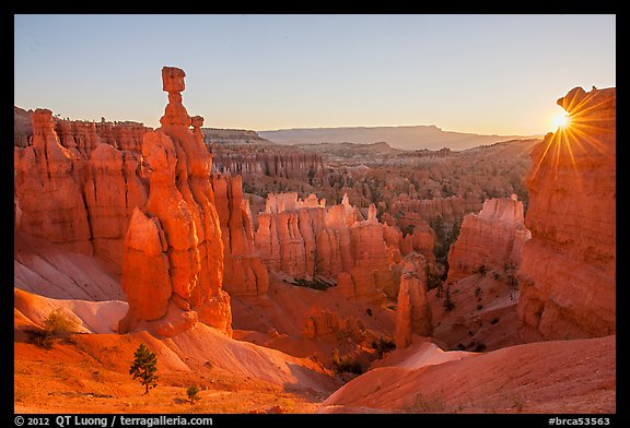 Thor Hammer and rising sun. Bryce Canyon National Park (color)