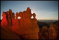 Hoodoos at night with backlight from moon. Bryce Canyon National Park ( color)