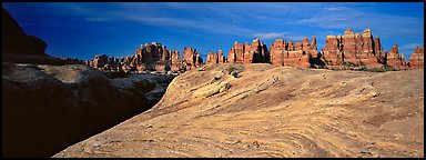 Swirls and sandstone pinnacles, Needles District. Canyonlands National Park (Panoramic color)