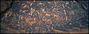 Petroglyphs on rock slab, Newspaper Rock. Utah, USA (Panoramic color)