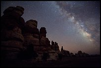 Dollhouse towers and Milky Way, Maze District. Canyonlands National Park, Utah, USA.