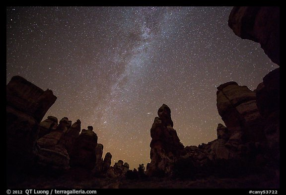 Dollhouse pinnacles and Milky Way, Maze District. Canyonlands National Park (color)