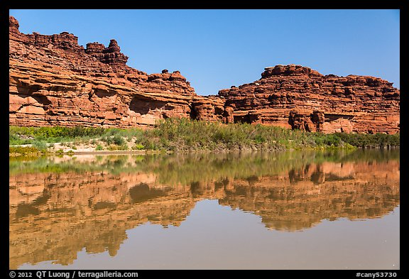 Cliffs reflected in Colorado River. Canyonlands National Park (color)