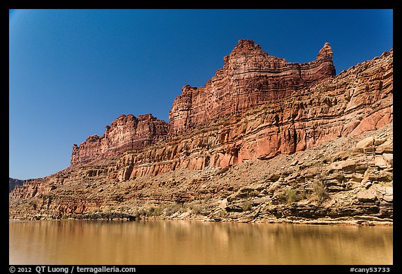 Multicolored cliffs and Colorado River. Canyonlands National Park (color)