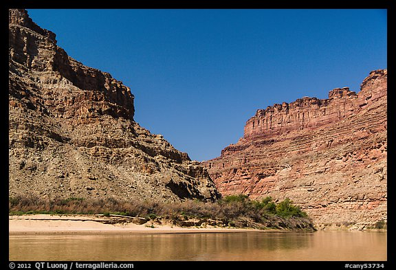 Cliffs towering above Confluence of Green and Colorado Rivers. Canyonlands National Park (color)