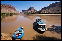 Jetboat and raft on Colorado River. Canyonlands National Park, Utah, USA. (color)