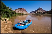 Raft on banks of the Colorado River. Canyonlands National Park, Utah, USA. (color)
