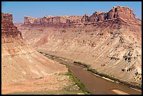 Distant views of rafts floating Colorado River. Canyonlands National Park, Utah, USA. (color)