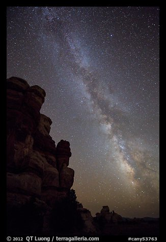 Doll House pinnacles and Milky Way. Canyonlands National Park (color)