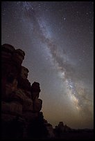 Doll House pinnacles and Milky Way. Canyonlands National Park ( color)
