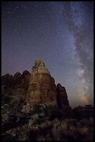 Doll House spires and Milky Way. Canyonlands National Park ( color)