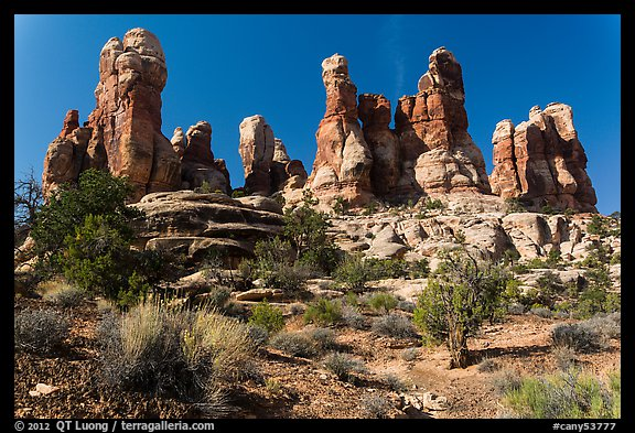 Whimsical spires, Doll House, Maze District. Canyonlands National Park (color)