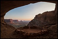 Alcove with False Kiva at sunset. Canyonlands National Park, Utah, USA.