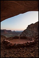 False Kiva stone circle at dusk. Canyonlands National Park, Utah, USA. (color)