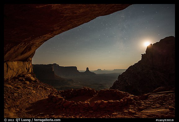 False Kiva, moon, and stars. Canyonlands National Park (color)