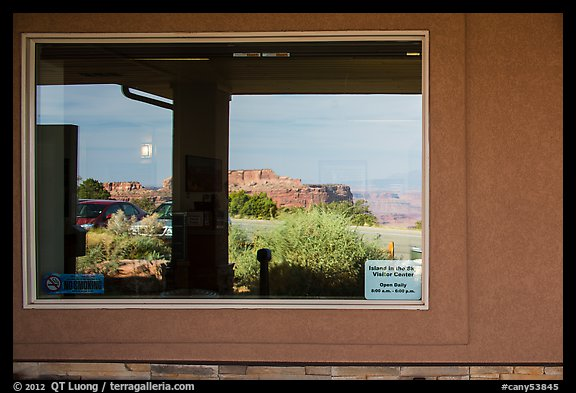 Canyons, Island in the Sky Visitor Center window reflexion. Canyonlands National Park (color)