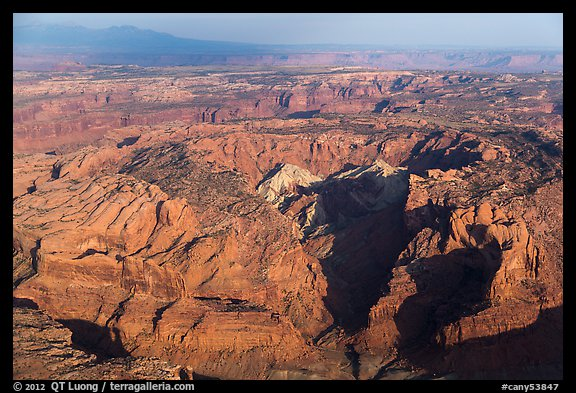 Aerial view of Upheaval Dome. Canyonlands National Park (color)