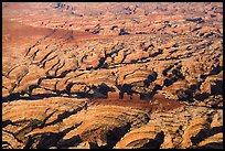 Aerial view of Chocolate Drops and Maze. Canyonlands National Park, Utah, USA. (color)