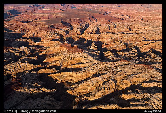 Aerial view of the Maze and Chocolate Drops. Canyonlands National Park (color)