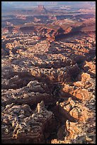 Aerial view of Maze and Elaterite Butte. Canyonlands National Park, Utah, USA.