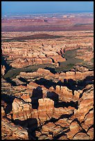 Aerial view of spires and canyons, Needles. Canyonlands National Park, Utah, USA. (color)