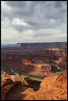 Gooseneck and stormy sky with virgas. Canyonlands National Park ( color)