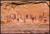 Barrier Canyon Style rock art, the Great Gallery,  Horseshoe Canyon. Canyonlands National Park, Utah, USA. (color)
