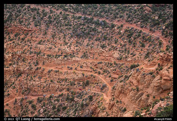 Steep switchbacks of the Flint Trail, Orange Cliffs Unit, Glen Canyon National Recreation Area, Utah. USA (color)