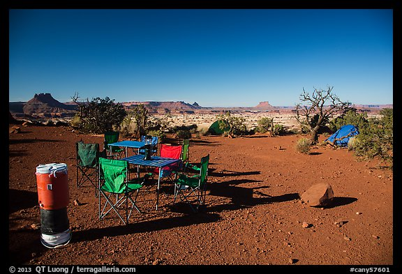 Backcountry camp chairs and tables, Standing Rocks campground. Canyonlands National Park, Utah, USA.