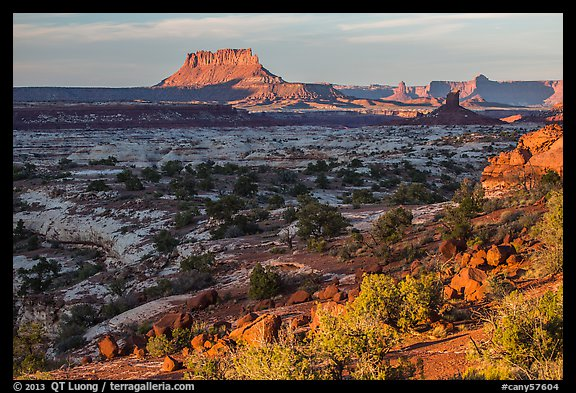 Maze and Elaterite Butte at sunset. Canyonlands National Park (color)