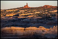 Maze and Chimney Rock at sunset, land of Standing rocks. Canyonlands National Park ( color)