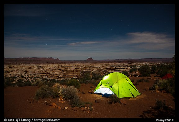 Tent overlooking the Maze at night. Canyonlands National Park (color)