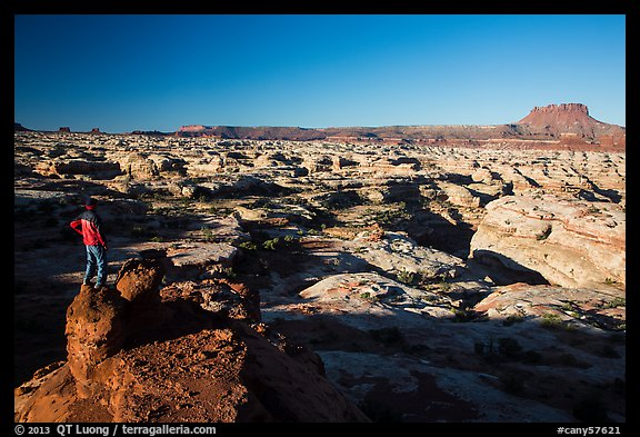 Park visitor looking, Maze canyons. Canyonlands National Park (color)