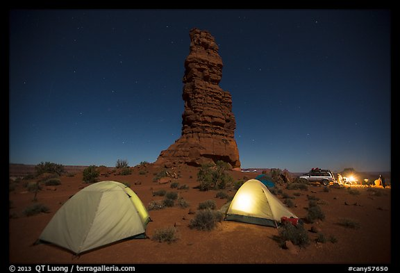 Camp at the base of Standing Rock at night. Canyonlands National Park (color)