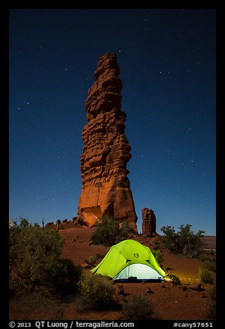 Tent at the base of Standing Rock at night. Canyonlands National Park (color)