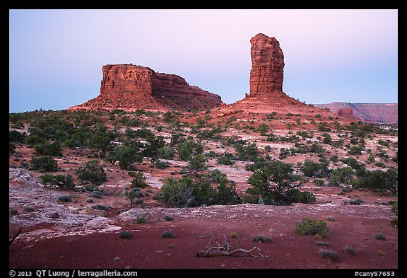 Lizard and Plug rock formations at dawn. Canyonlands National Park (color)