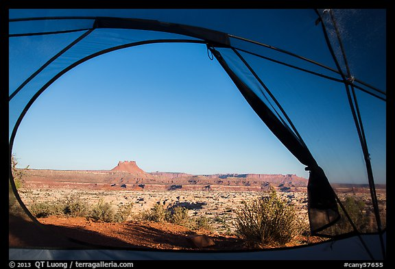 View from inside tent at Standing Rock camp. Canyonlands National Park (color)